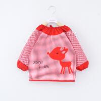 宝宝吃饭罩衣春秋薄款防水反穿衣长袖儿童围裙女孩婴儿围兜