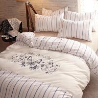 秋冬季床上用品床单被套加厚磨毛三件套学生宿舍简约北欧四件套定制