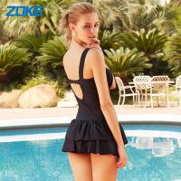 洲克泳衣女连体裙式保守游泳装小胸聚拢钢托遮肚显瘦大码