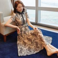 蕾丝连衣裙2019新款女装夏季裙子复古小礼服气质女神中长款A字裙 蕾丝连衣裙