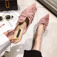 2019春季时尚女士英伦风细跟拖鞋新款百搭舒适休闲女鞋