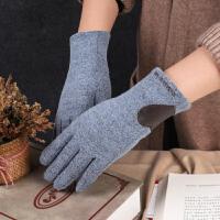 羊毛手套女冬季加绒保暖分指韩版可爱可触屏冬天骑行开车羊绒手套