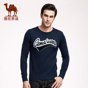 骆驼男装 秋冬季青年套头字母修身圆领日常休闲英伦长袖毛衣男士