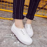 韩国小白鞋黑白色帆布鞋女韩版懒人鞋学生布厚底休闲板鞋
