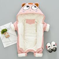 婴儿连体衣服春秋冬季加厚保暖棉衣冬装新生儿宝宝外出服抱衣套装