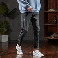 限时抢购价119唐狮2019夏装新款牛仔裤男青年潮流时尚破洞织带绣字牛仔裤Z