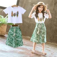 女童套装夏装时尚女大童洋气童装儿童阔腿裤两件套潮
