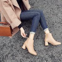 靴子女黑色短靴女秋冬2019新款欧美后拉链高跟鞋女冬季粗跟马丁靴