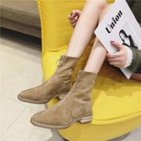 2018秋冬新款方头粗跟绒面短靴女前拉链低跟女靴子显瘦马丁靴潮