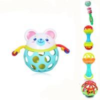 3-6-12个月婴儿手抓球扣洞抠洞摇铃球男女宝宝有指洞的青蛙玩具 快乐小白熊(随机色) 超值5件套