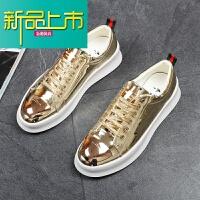 新品上市购男板鞋韩版系带平底透气休闲鞋厚底增高鞋银色时尚潮流男鞋夏