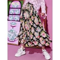 【秒杀价:208】【再享满499减50券】妖精的口袋2019新款女装春装港味半身裙中长款松紧腰雪纺百褶裙