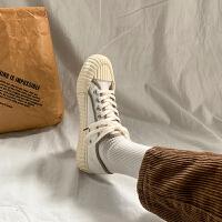 饼干鞋复古港味帆布鞋女学生韩版春季2019女鞋潮板鞋 白色