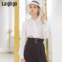 【5折价189】Lagogo/拉谷谷2019年春季新款时尚女通勤长袖白色衬衫IACC432H14