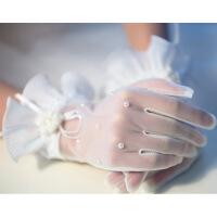 新款新娘结婚婚纱礼服手套 珍珠蕾丝花边半透明水晶薄纱短款手套 乳白色 均码