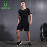 【限时抢购价】范斯蒂克 运动套装男士夏季健身服短袖短裤健身房运动服速干跑步衣服两件套TC14