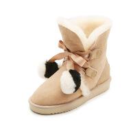 爱旅儿女鞋冬保暖皮毛一体双色毛球舒适雪地靴EA61902