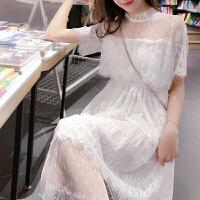 蕾丝连衣裙女2019春夏装新款性感镂空网纱裙子主播服装超仙女甜美