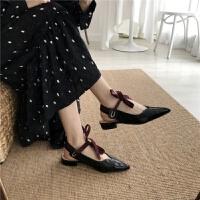 早春两穿浅口尖头丝带绑带粗跟穆勒鞋网红撞色复古低帮鞋单鞋
