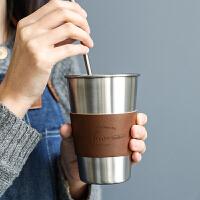 不锈钢杯子水杯咖啡杯带盖隔热北欧ins风创意个性潮流茶杯随手杯