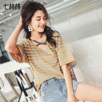 七格格短袖女2019夏季新款休闲宽松上衣学生显瘦棉质韩版条纹T恤