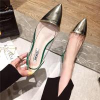 单鞋时尚休闲舒适英伦风女士浅口尖头平底鞋春季新款豹纹百搭女鞋