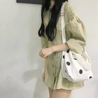 YOHOO!/波点控 韩系chic可爱波点百搭单肩斜跨帆布包购物袋手提女