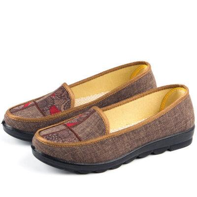 老北京布鞋女春时尚百搭滑一脚蹬懒人鞋平底上班布鞋女妈妈   春季时尚新款女鞋男鞋
