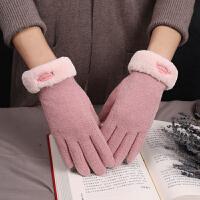 羊毛手套女冬季加绒加厚保暖防寒羊绒手套可触屏骑行开车ins网红