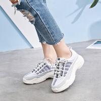 2019春季新款韩版女鞋休闲鞋学院风系带百搭运动鞋女士老爹鞋