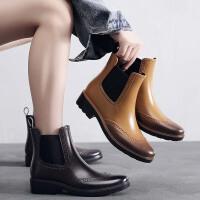 新款雕花切尔西雨鞋女时尚水靴套鞋防水胶鞋防滑短筒雨靴成人水鞋
