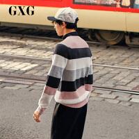 GXG男装 冬季新品韩版潮流彩色条纹低领套头针织毛衫毛衣男