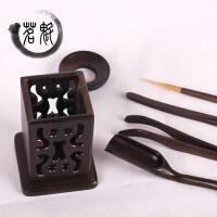 茶道六君子套装 竹制实木茶道配件陶瓷功夫茶具