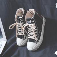 棉鞋2018新款冬季休闲韩版百搭学生小白鞋内增高加绒高帮帆布