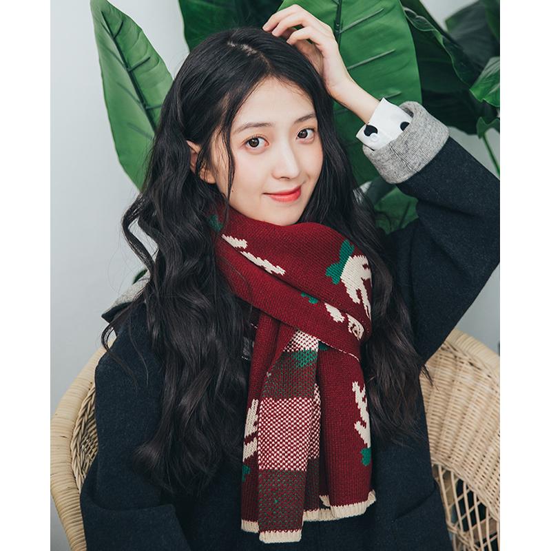 围巾女秋冬季圣诞节送女友礼物围脖长款加厚小鹿围巾披肩女网红