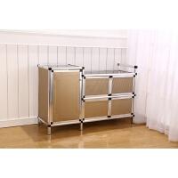 简易不锈钢拉丝橱柜 液化气柜厨房柜储物柜煤气灶台柜茶水柜简易 5门