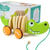 儿童拖拉车玩具1-3岁宝宝拉绳牵引学步车手推车小熊打鼓c