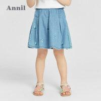 【2件4折价:87.6】安奈儿童装女童牛仔短裙2021新款洋气宝宝春夏装裙子儿童半身裙