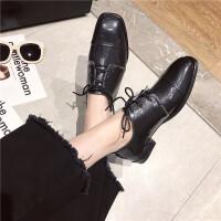 小皮鞋女2019春季新款女鞋圆头系带通勤气质OL休闲复古女士低帮鞋
