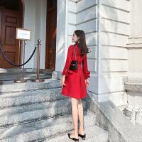 卡贝琳女2019新款秋装法式大红色衬衫连衣裙女夏维多利亚复古v领小红裙子女