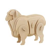 3D木质立体拼图拼装模型航模车模儿童玩具 杏色 绵羊