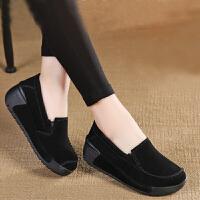 BANGDE女式皮鞋舒适松糕赖人单鞋女装秋鞋套脚轻便鞋女中老年妈妈鞋坡跟
