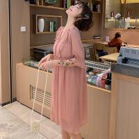 甜美短袖孕妇连衣裙两件套夏孕妇装韩版纯色仙女裙大码女装Y-1916