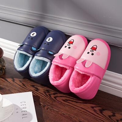 可爱卡通冬季儿童皮防水室内居家保暖防滑厚底宝宝男毛棉拖鞋包跟