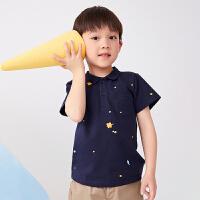 【秒杀价:135元】马拉丁童装男童衬衫2020春夏新款满底印绣POLO领短袖T恤