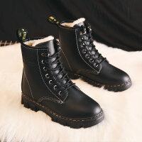 冬季雪地靴女2018加绒加厚马丁靴学生棉鞋百搭短筒厚底短靴子 1733 黑色(新款)