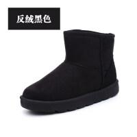 2018新款冬季皮面雪地靴女水短筒保暖加绒短靴韩版靴子学生棉