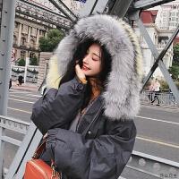 2018冬季韩版宽松渐变色大毛领连帽中长款工装棉衣外套女学生 青灰色