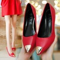 尖头高跟鞋时尚细跟5厘米中跟浅口红色婚鞋单鞋四季工作百搭皮鞋
