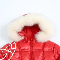 马拉丁童装女大童羽绒服冬装反季清仓带毛领红色儿童羽绒外套